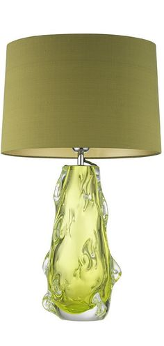 Table Lamps, Designer Green Lime Art Glass Table Lamp