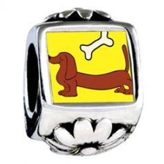 Dachshund Dog With Bone European Charms  Fit pandora,trollbeads,chamilia,biagi and any customized bracelet/necklaces. #Jewelry #Fashion #Silver# handcraft #DIY #Accessory