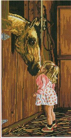 Horse and child kiss Cross Stitch Horse, Just Cross Stitch, Cross Stitch Animals, Counted Cross Stitch Patterns, Cross Stitch Charts, Cross Stitch Designs, Cross Stitch Embroidery, Embroidery Patterns, Sewing Art