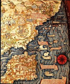 Top of map is South - Shows Spain and North West coast of Africa - - - Fra Mauro Spain, Portugal Map 1459 Old World Maps, Old Maps, Vintage Maps, Antique Maps, Map Of Spain, Map Globe, Fantasy Map, Historical Maps, Map Design