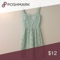 Charlotte Russe Sundress Mint green floral lace sundress Charlotte Russe Dresses Mini