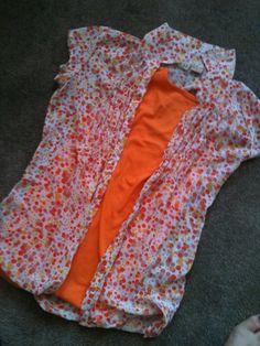 Long polka dot orange blouse