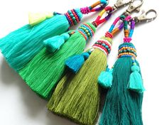Luxury beaded Thai tassel - ONE, Choose from four shades of GREEN, Luxurious beaded tassel with mini tassels and clip for bags, accessories Diy Tassel, Tassel Jewelry, Beaded Jewelry, Tassels, Jewellery, Tassel Curtains, Embroidery On Clothes, Pom Pom Crafts, Boho Designs