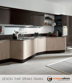 Dark brown lacquer and light wood finished cabinets in custom shapes from the Penelope collection—one of our most popular.
