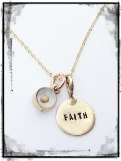 Hand Stamped Disc with Mustard Seed Charm by AllieMJewelry on Etsy
