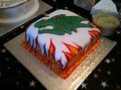 Painted dragon cake