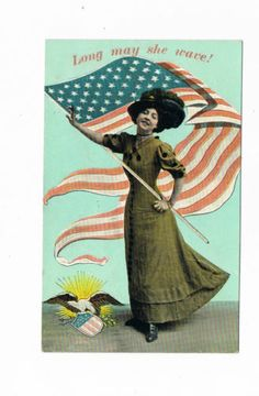 C1911 Theochrome Suffrage Suffragette Post Card Long May She Wave Americana | eBay