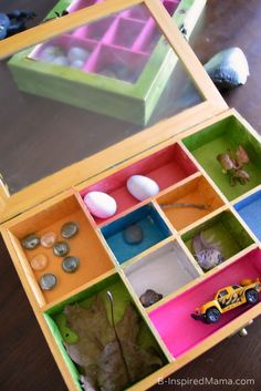 Collection Box Kids Craft- use m&d boxes with a frame on top