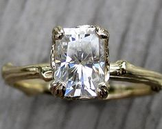 Emerald Moissanite Twig Engagement Ring: Carved Floral Setting, 1ct