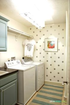 Gorgeous laundry room makeover including full source list. Full of great DIY projects!