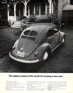 1971 Volkswagen Beetle print ad 23 year old bug still by Vividiom, $9.00