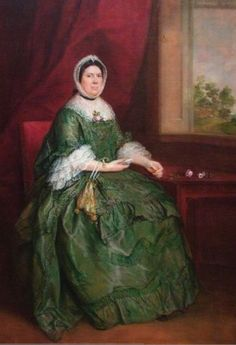 Portrait of Hannah (Mrs. Charles) Tudway by Thomas Gainsborough. 1760-1765 oil on canvas. The sitter was a lace maker which explains the three layers of lace on her sleeves. She holds a tatting shuttle, and a bag for the thread. In the collection of the Baltimore Museum of Art., MD. Photo by Bruce Guthrie.