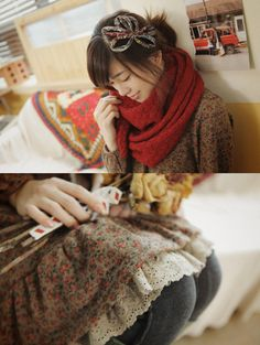 Japanese fashion style, Mori Girl. Cute calico and a bulky red scarf.