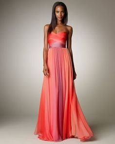 Monique Lhuillier Fall Preview Ombre Ruched Gown from Neiman Marcus