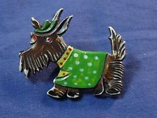 Old CELLULOID & WOOD DOG Pin / Brooch Terrier ~ Scottie made in Czechoslovakia
