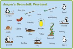 An sheet featuring a variety of keywords from the Jasper's Beanstalk story as well as our interpretation of some of the characters etc. 2nd Grade Ela, Third Grade Science, Primary Resources, Teacher Resources, Map Nursery, Nursery Rhymes, Traditional Tales, Jack And The Beanstalk, Physics Classroom