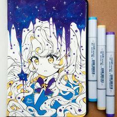 사진 설명이 없습니다. Anime Drawings Sketches, Anime Sketch, Kawaii Drawings, Cool Drawings, Art Anime, Anime Artwork, Anime Art Girl, Manga Art, Copic Marker Art