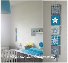 Naamkoord in de kleuren ziler, aqua en grijs.  Babykamer decoratie  Makkelijk te maken, bij de action een paar canvassen halen, wat stof en plaksel.