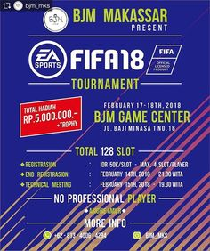 Repost from @bjm_mks @TopRankRepost #TopRankRepost Come And Join Us! BJM Makassar Present Fifa 18 Tournament  17-18th February 2018 at BJM Game Centre  Jalan Bajiminasa 1 No.16  Makassar!  Total Hadiah : Rp. 5.000.000-  Thophy  No Professional Player   Arighie Amier   More Info :  081340064294 ( WA )  Instagram : bjm_mks