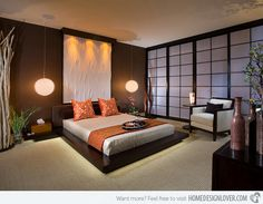 I love this minimal Japanese influenced bedroom with the shoji screens.