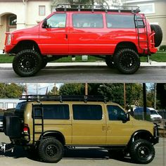 Two Ford vans loaded with Aluminess gear…roof rack, bumpers, and ladder Source by teknorehbernet 4x4 Camper Van, 4x4 Van, Diy Camper, Ford 4x4, Ford Trucks, Lifted Van, Ambulance, Chevy Express, Vanz