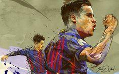 Download wallpapers Coutinho, fan art, FC Barcelona, footballers, 2018, FCB, La Liga, Barca, soccer, Philippe Coutinho, Barcelona, Phil Coutinho, LaLiga, Barcelona FC