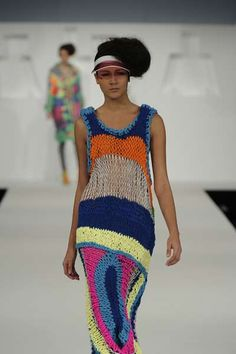 Oversized Psychedelic Knitwear - The Neon Patterns by Alison Woodhouse are Hypnotizing