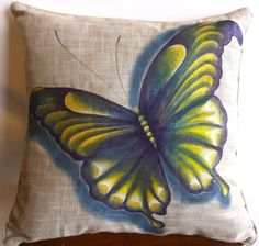Butterfly hand painted pillow por HoofsNWoofsArt en Etsy, $75.00