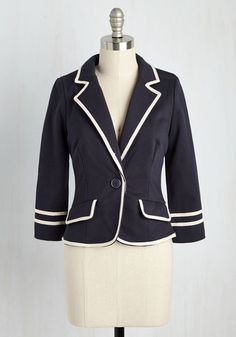 Make way for a semester filled with your most creative essays, most refined equations, and of course, this most scholarly navy blue blazer! A perfectly pulled-together layer with one button and alabaster trim, this knit cotton jacket is a ModCloth exclusive and a great mate for late nights in the library.