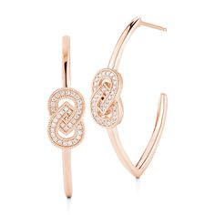 ISABELLE BROOKE: Rose Gold Geometric Diamond Hoop Earring