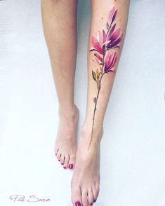 A selection of the tattoos fromartistPis Saro, a native of Crimea, whoimagines delicate and poetic flower arrangements. Some beautiful and colorful creati