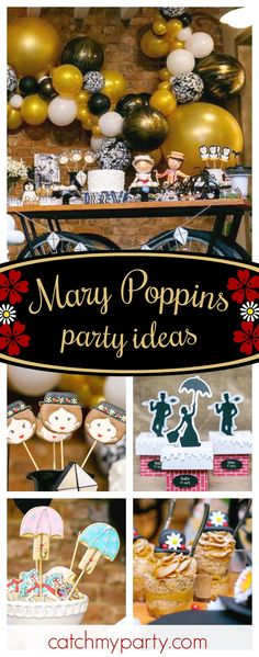 Let's go fly a kite and see this amazing Mary Poppins birthday party! The Mary Poppins hat cookies are adorable!! See more party ideas and share yours at CatchMyParty.com