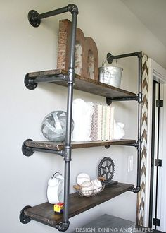 Industrial Piping Shelves - Simple to create and looks amazing.