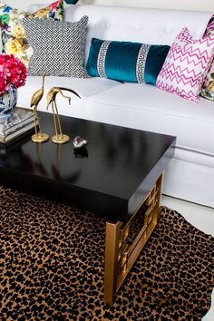 leopard rug; coffee table