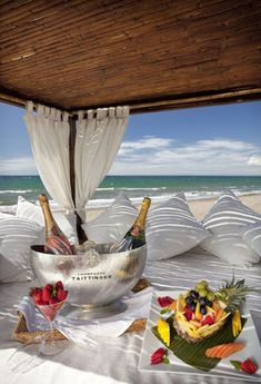 Looks like a romantic getaway with champagne and some goodies. Romantic Places, Beautiful Places, Beautiful Sites, Dream Vacations, Vacation Spots, Beach Vacations, Beach Hotels, Beach Resorts, Beach Paradise