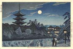 hanga gallery . . . torii gallery: Moonlight at Sarusawa Pond, Nara by Takeji Asano