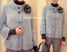 Cardigan models - Everything About Knitting Knitting Patterns Free, Knit Patterns, Knitting Stitches, Crochet Cardigan, Crochet Lace, Knit Jacket, Crochet Clothes, Knitwear, Sweaters For Women