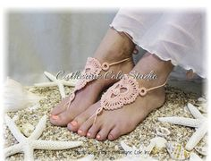 Say I do on the beach wearing our lovely hand crochet peach and pearl barefoot sandals. Our handmade bohemian style barefoot sandals are so wonderful for your tootsies, popular delicate peach colored