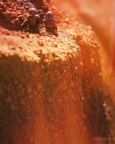 We are anthill men on an anthill world.  Ray Bradbury . Some areas of the surface are a bit too treacherous to explore with the exosuit... . #lego #explorations #alien #alienlandscape #desert #hot #trecherous #deepspace #legospace #cinderpit