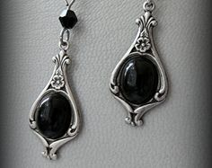 Gothic antique silver black cameo earrings.