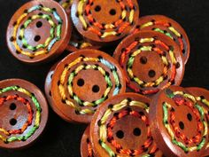 5 Rainbow Threaded Wood Buttons- 25mm- Novelty Sewing- Scrapbooking- Jewelry Making- Crafts