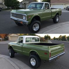 Vintage Chevrolet Truck Olive Green with white top