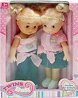 2PC 30CM 12 TWIN GIRLS PINK CUTE LOVING BABY DOLL WITH CLOTHES TOY SET KIDS