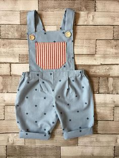 f0225623f4f4 Boys blue and red Stars and Stripes dungarees, Fourth of July, star pattern  dungarees, American theme outfit, boys romper, celebration wear