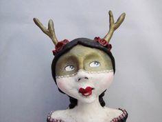 primiitve folk art doll deer girl masquerade by amberleilani, $150.00