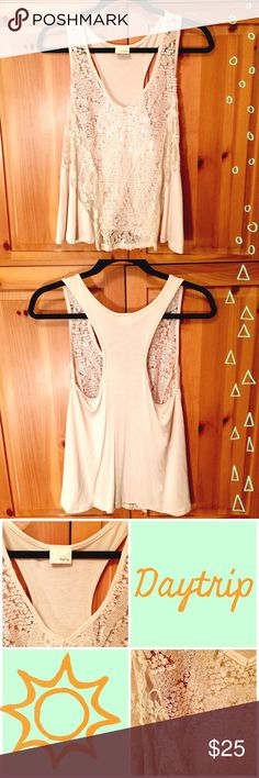 REDUCED Host Pick 6/6/16 Daytrip Tank Top Super soft and shiny Daytrip tank top. Has beautiful and girly lace and sequin details. Size medium. Worn one time! Daytrip Tops Tank Tops