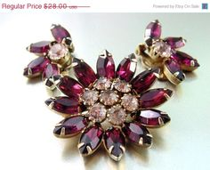 CLEARANCE SALE, Bold Verified Pink and Purple Juliana Rhinestone Brooch and Earrings. Hi End Designer Jewelry. on Etsy, $23.80