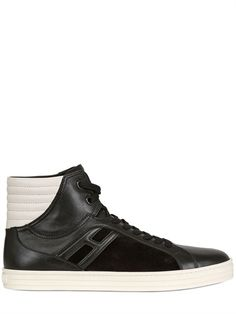 HOGAN REBEL - 20MM LEATHER & SUEDE HIGH TOP SNEAKERS - LUISAVIAROMA - LUXURY SHOPPING WORLDWIDE SHIPPING - FLORENCE