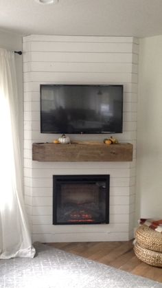 Fireplace Reveal- Our Electric Brick Fireplace - Nesting With Grace Our Painted White Brick Electric Corner Gas Fireplace, Built In Electric Fireplace, Fireplace Built Ins, Shiplap Fireplace, Small Fireplace, Bedroom Fireplace, Farmhouse Fireplace, Home Fireplace, Fireplace Remodel