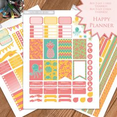 Summer, Sea, Planner Stickers Printable, Happy Planner, Monthly/Weekly Sticker Kit, Printable Sampler, Happy Planner Kit, Instant download
